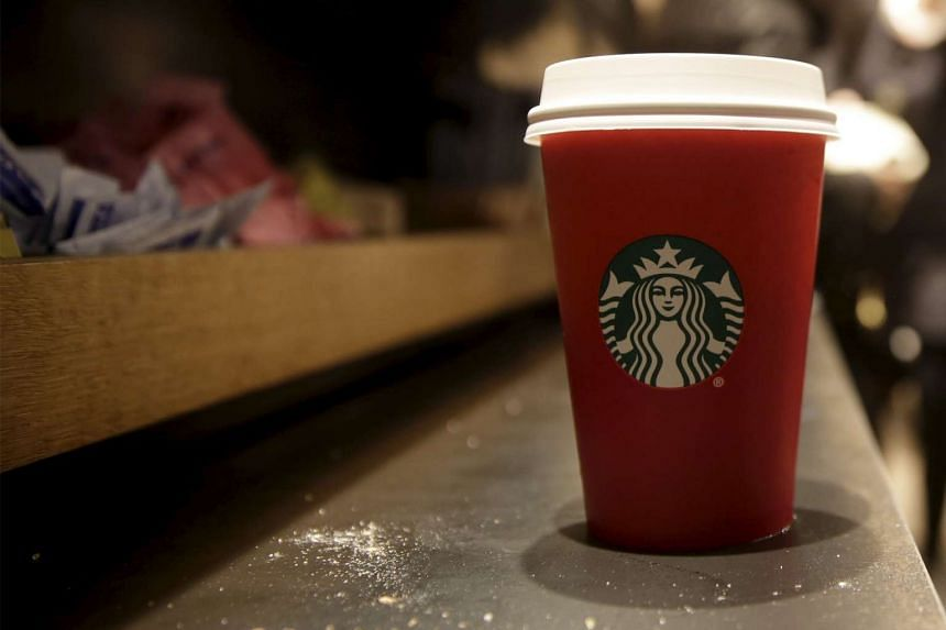 A red Starbucks cup.