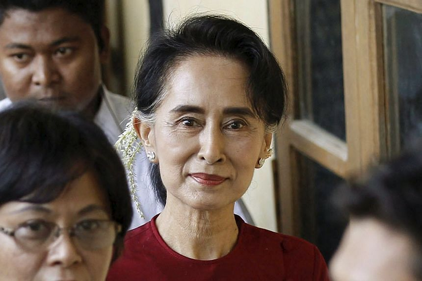 Myanmar pro-democracy leader Aung San Suu Kyi visiting poling stations at her constituency Kawhmu township on Nov 8, 2015.