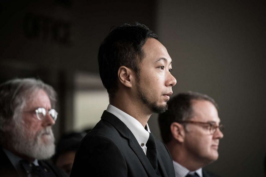 Political activist Ken Tsang outside a court of justice in Hong Kong on Oct 19, 2015.