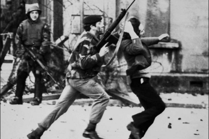 A British soldier drags a protester on Bloody Sunday in Londonderry, Northern Ireland, on Jan 30,1972.