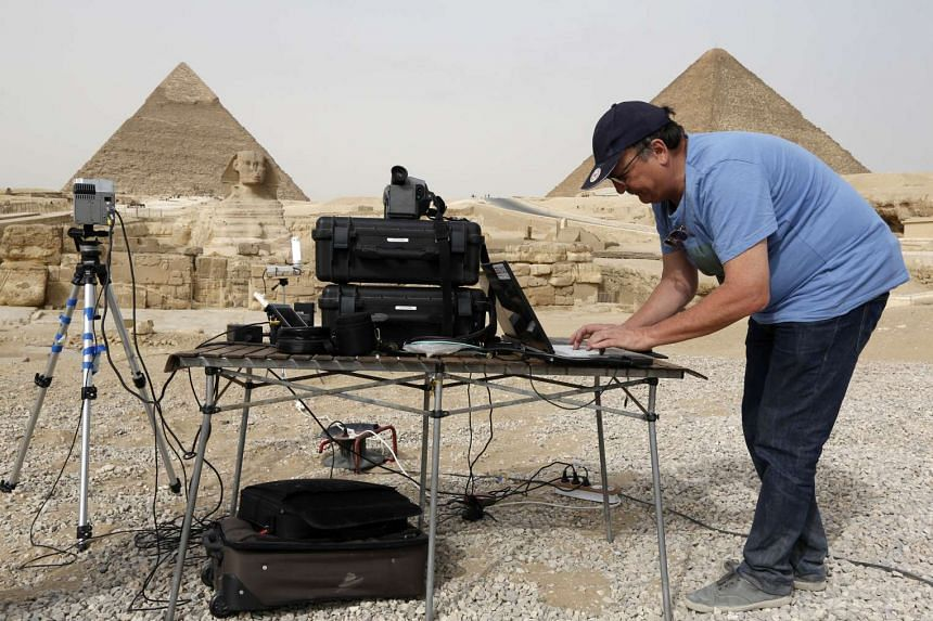An engineer uses infrared thermography to map the walls of the pyramids in Giza.