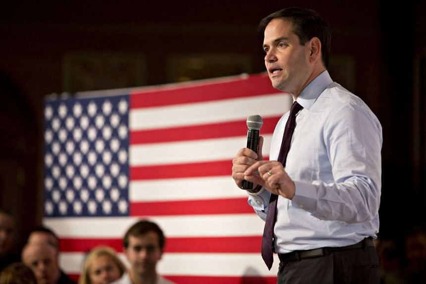 US Senator Marco Rubio  speaks during a campaign rally in Pewaukee, Wisconsin,