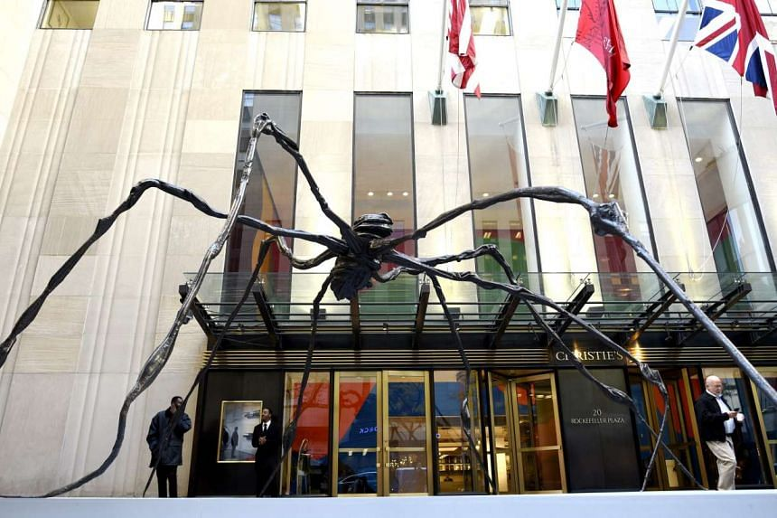 A sculpture by French-American artist Louise Bourgeois called Spider, on display  in New York on Oct 30 before an art auction at Christie's.