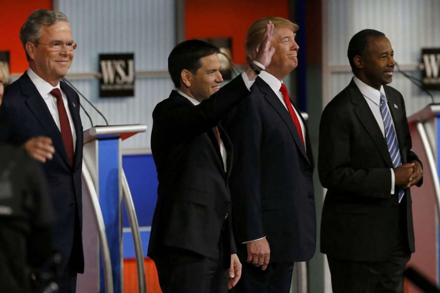 Republican presidential candidates (from left) Jeb Bush, Marco Rubio, Donald Trump and Ben Carson at the debate in Milwaukee on Nov 10.
