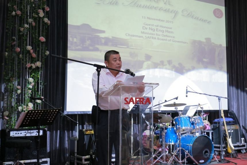 President of SAFVL BG (NS) Winston Toh delivering the welcome address at the SAFVL 25th Anniversary Dinner.