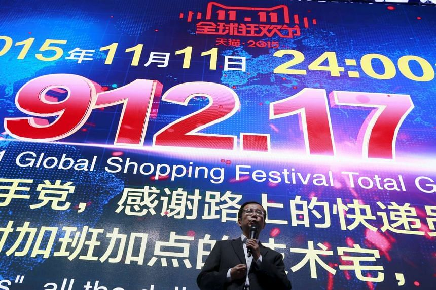 Alibaba CEO Daniel Zhang revealing the company's total value of goods transacted on Singles' Day was 91.2 billion yuan.
