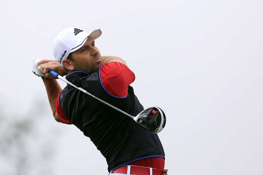 Sergio Garcia of Spain teeing off on the 15th hole during the first round of the BMW Masters 2015 tournament at Lake Malaren Golf Club in Shanghai on Nov 12, 2015.
