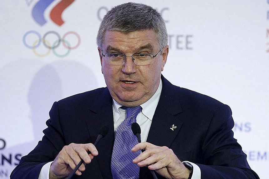 IOC boss Thomas Bach is not calling for Russia's athletics federation to be banned.