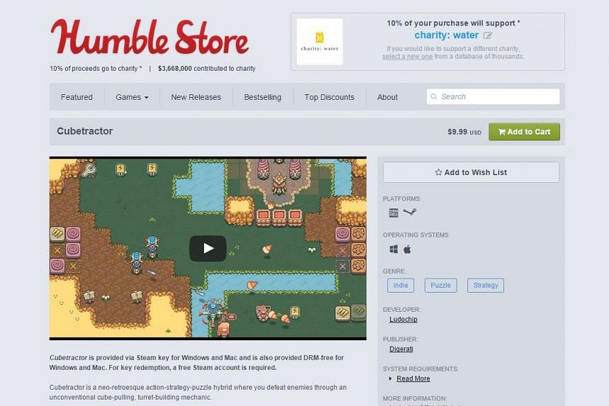 Bundles of made-in-Singapore games, including Cubetractor, are up for grabs in a charity tie-up between Humble Bundle and Singapore game developers.