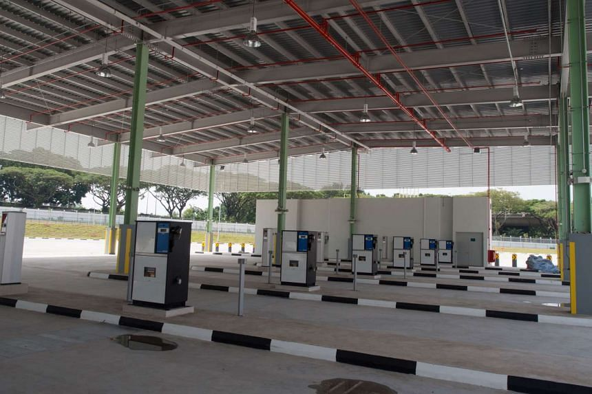 Fueling stations at Bulim Bus Depot, which has been taken over by new transport operator Tower Transit.
