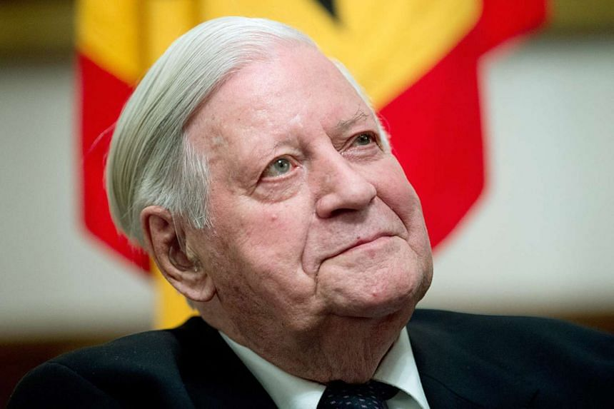 Former German chancellor Helmut Schmidt at a reception in honour of his 95th birthday in Berlin on March 13, 2014.