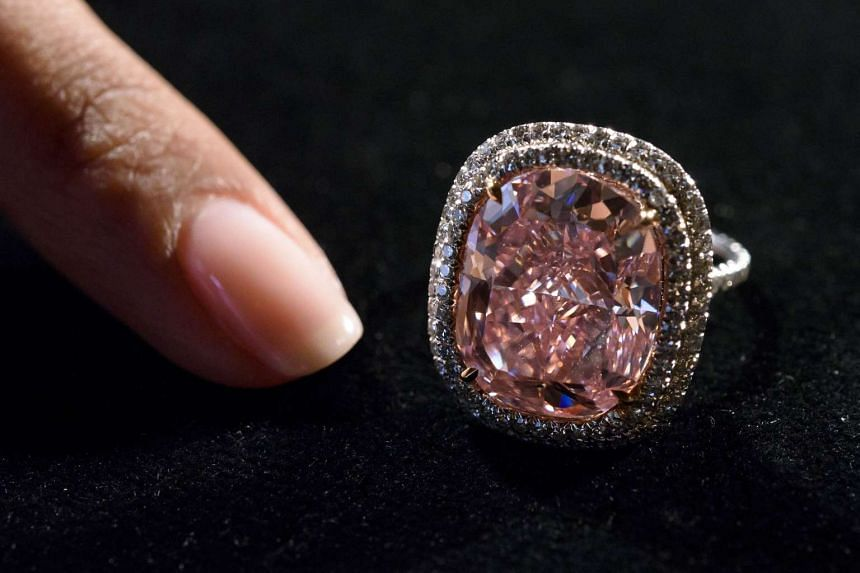 The 16.08-carat pink diamond displayed by Christie's on Oct 30.