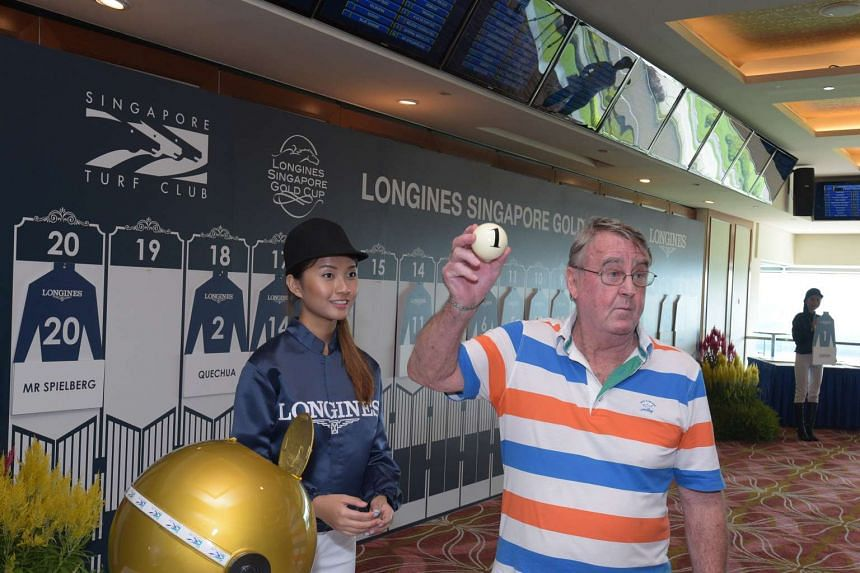 "Trainer Laurie Laxon at yesterday's post position draw for the Longines Singapore Gold Cup. Six-year-old gelding Stepitup, ""the best horse in the field"", according to Laxon, will carry the top weight of 58kg in the $1.35 million race, while defending"