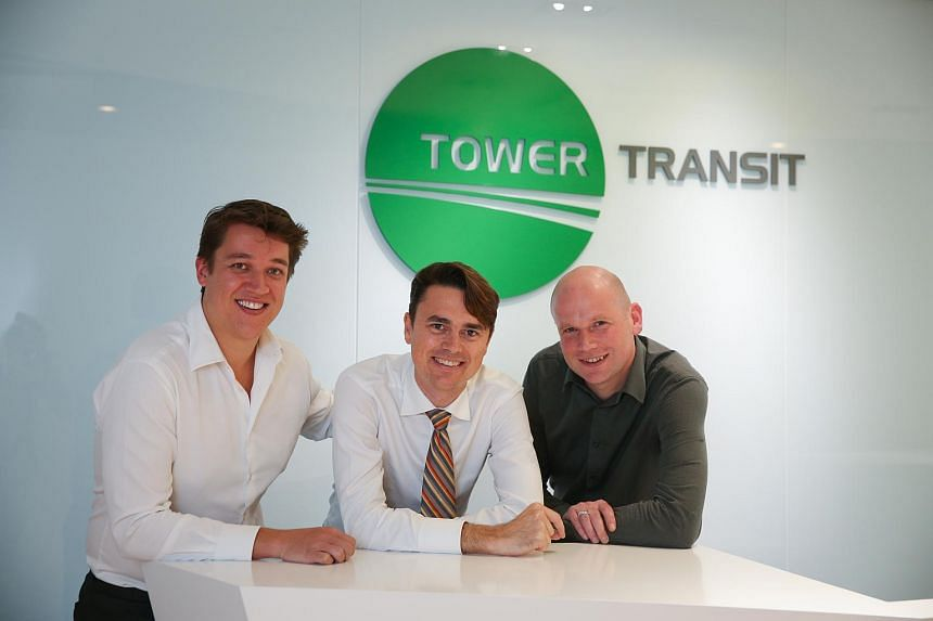 (From left) Tower Transit's CFO Andrew Bujtor, CEO Adam Leishman, and operations and transition manager Stuart Thomas at a press conference on Nov 12.