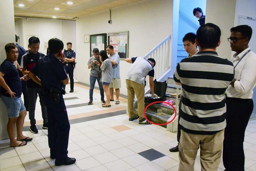 Police officers at the scene where the robbery took place. A jar containing curry powder (circled) was found at the staircase landing.