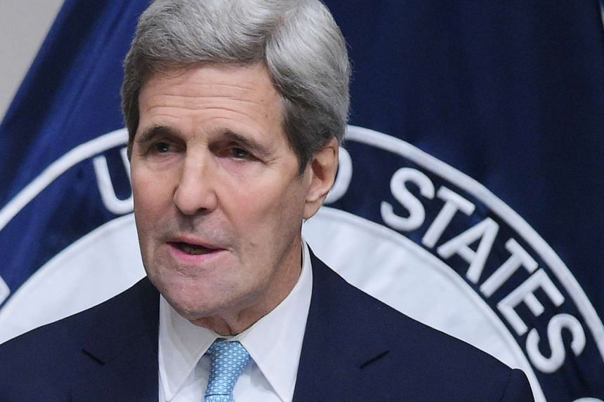 US Secretary of State John Kerry speaks on the US strategy in Syria during an address at the United States Institute of Peace.