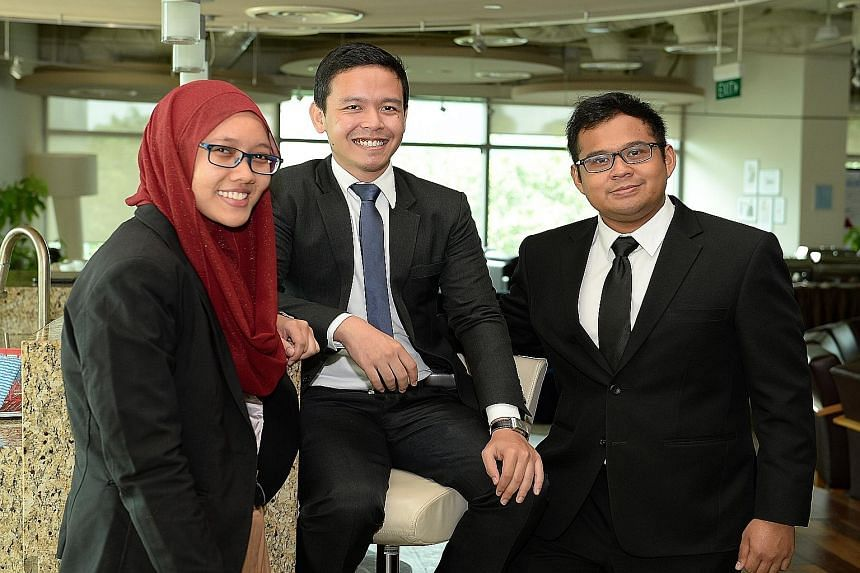 Scholarship recipients (from left) Nur Amalina Saparin, Muhammad Hafiz Kasman and Khairul Ashraf Khairul Anwar. The scholarship is open to full-time Malay Singaporean undergraduates in their second to fourth year at SMU. It will fund a year of their