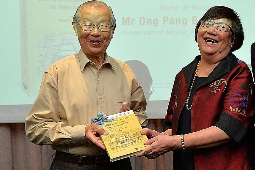 Pioneer Cabinet minister Ong Pang Boon and book editor Pang Cheng Lian at the launch of 50 Years Of The Chinese Community In Singapore yesterday.