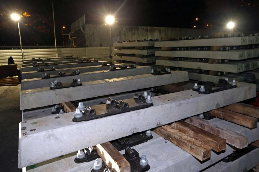 Concrete sleepers at Temporary Staging Area which will replace the old wood sleepers.