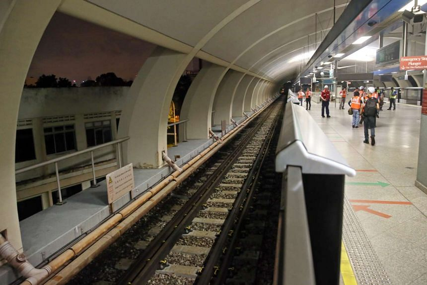 New concrete sleepers on the track at Aljunied MRT station.