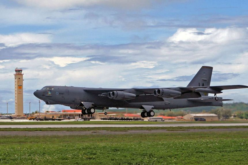 A B-52 plane takes off in Guam in 2010.