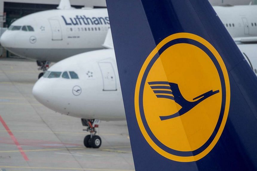 Parked planes of German airline Lufthansa at Frankfurt airport.
