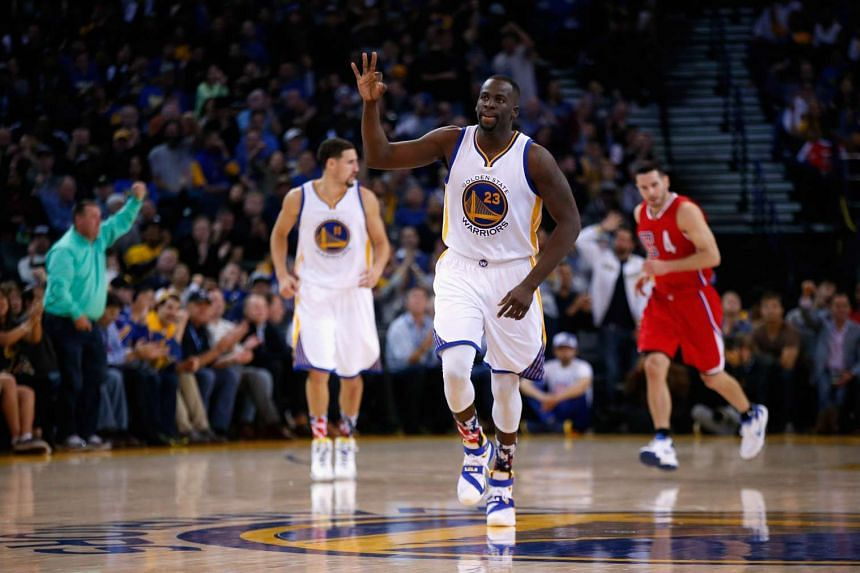 Draymond Green (centre) of the Golden State Warriors during their game against the Los Angeles Clippers in Oakland, California, on Nov 4, 2015.