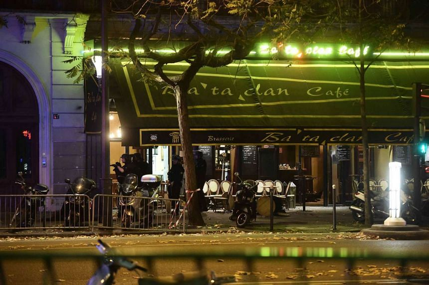 The damage outside the Bataclan concert venue in Paris, France, on Nov 13, 2015, where a gunman has reportedly taken people hostage.