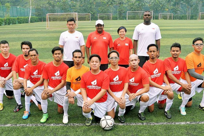 Members of the Singapore Cerebral Palsy football team who will be taking part in the coming Asean Para Games.