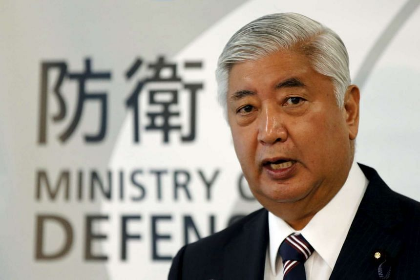 Japan's Defense Minister Gen Nakatani speaking during a news conference at the Defense Ministry in Tokyo, Japan on Oct 27, 2015.
