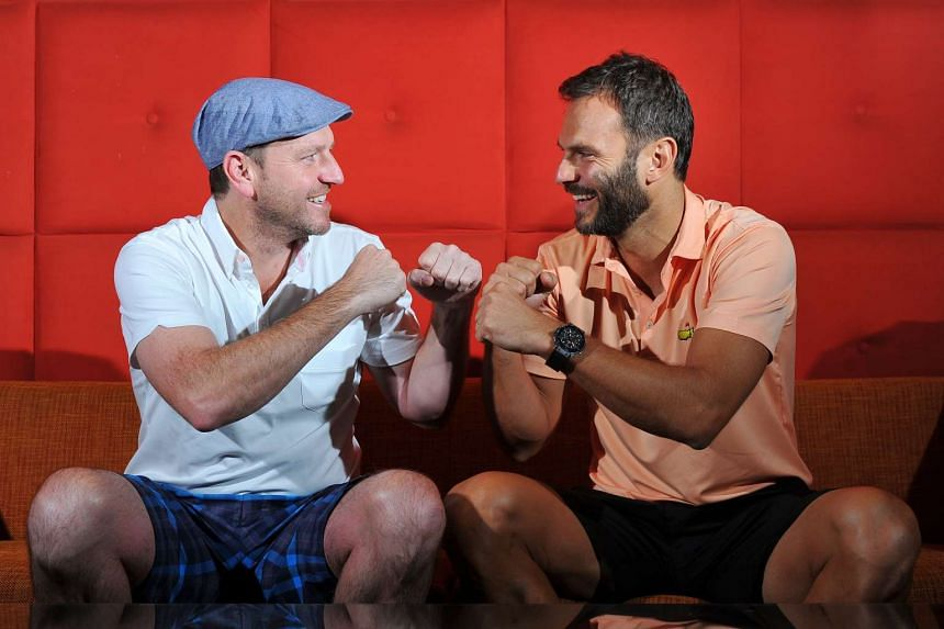 Former EPL players Lee Sharpe (left) and Patrik Berger (right), at Singapore Marriott Hotel on Nov 10, 2015.