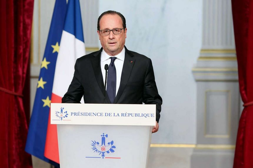 French President Francois Hollande adressing the nation after a series of gun attacks and explosions occurred across Paris.