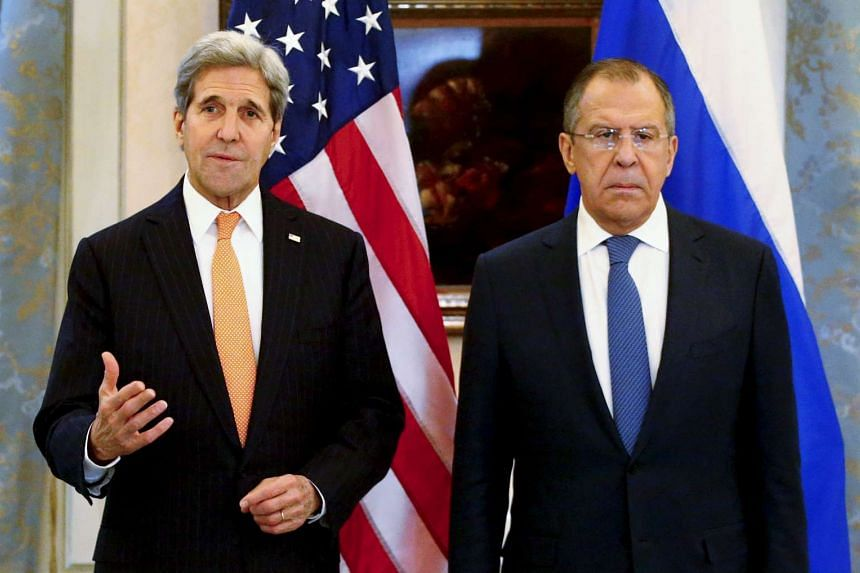 US Secretary of State John Kerry (left) and his Russian counterpart Sergei Lavrov addressing the media in Vienna, Austria, on Nov 14, 2015.