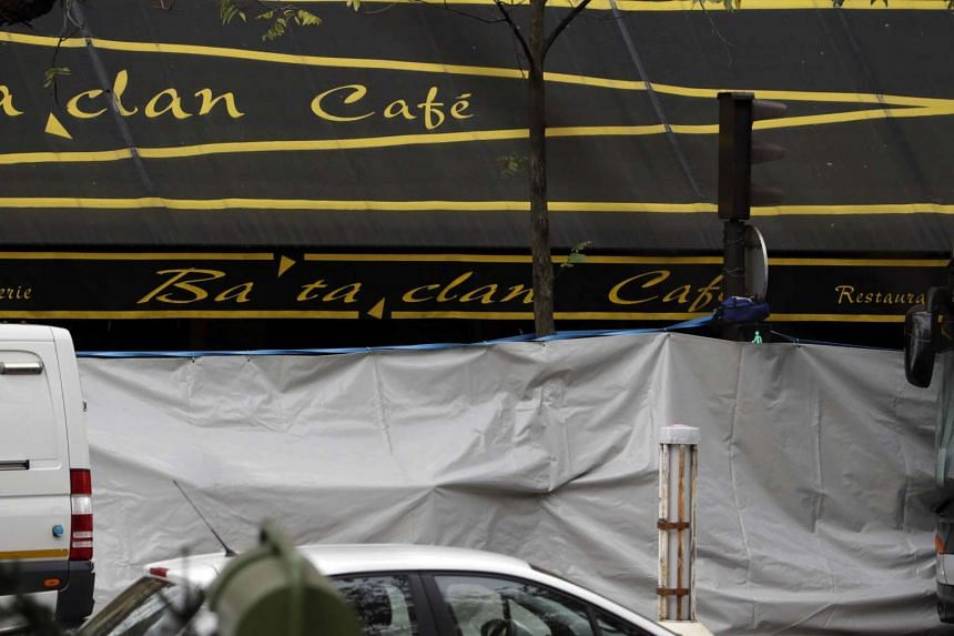 A cordoned off area at the site near the Bataclan concert hall in Paris on Nov 14, 2015.