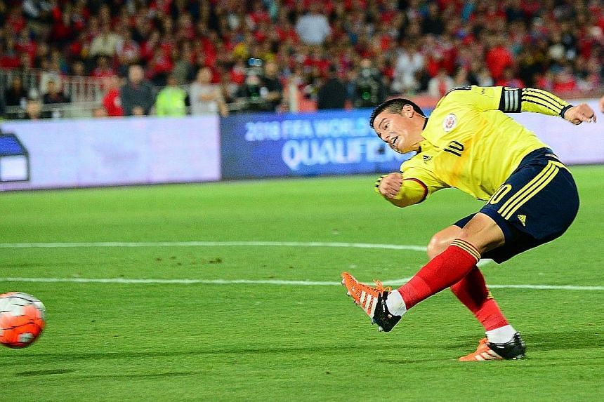 Colombia's James Rodriguez equalising against Chile in their 2018 World Cup qualifier, which ended 1-1.