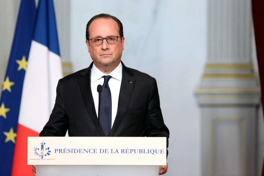 French President Francois Hollande making a statement at the Elysee palace in Paris.