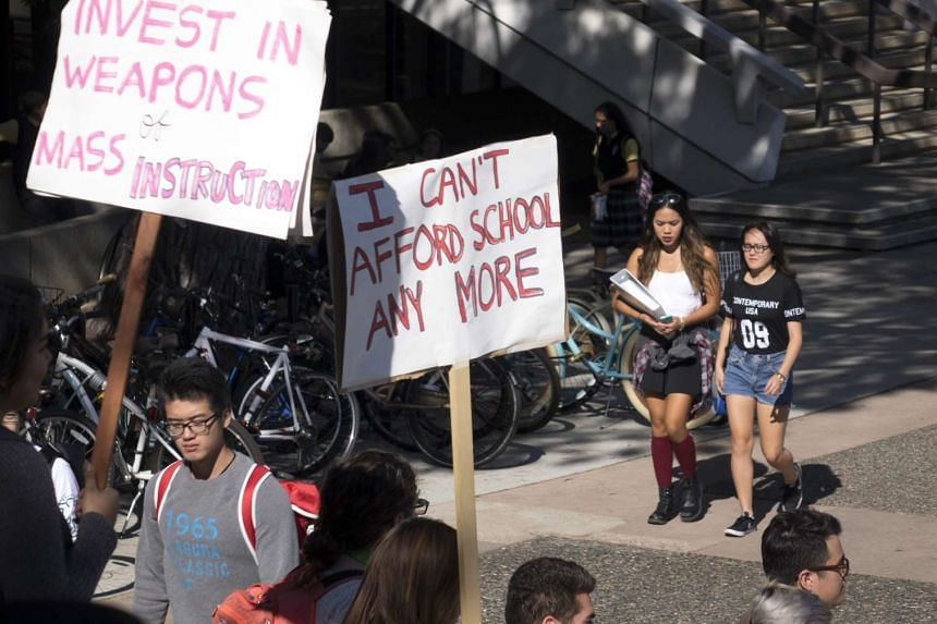 University of California, Irvine students protesting against high education costs during the Million Student March on Thursday.