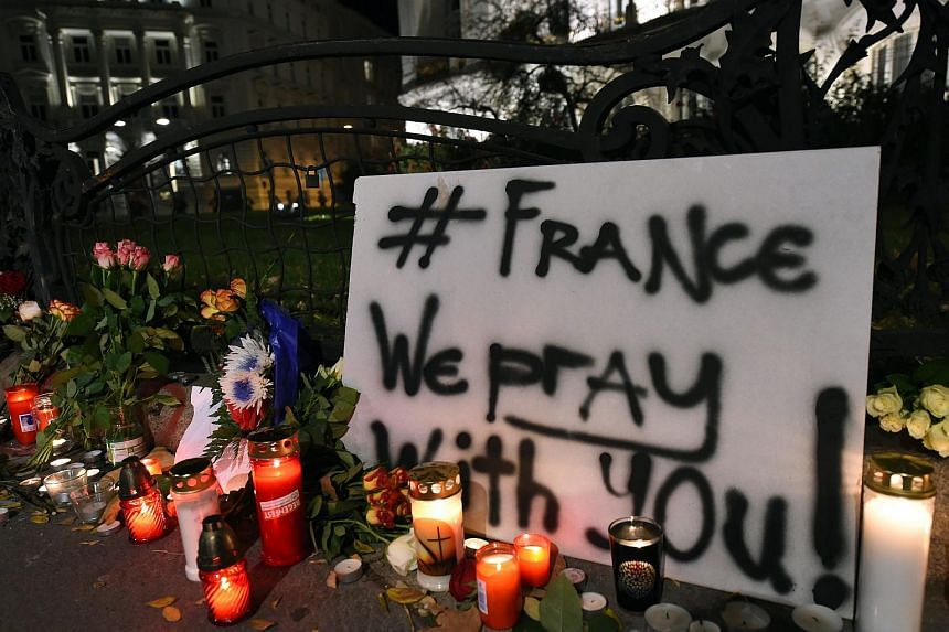 People light candles and place flowers in front of the French Embassy in Vienna to pay tribute for the victims of the Paris attacks.