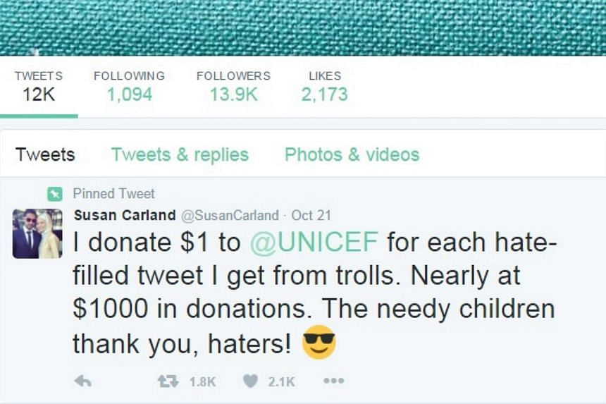 An Australian Muslim woman has donated close to A$1,000 (S$1,015) to charity after pledging to give A$1 every time she receives a hate-filled tweet.