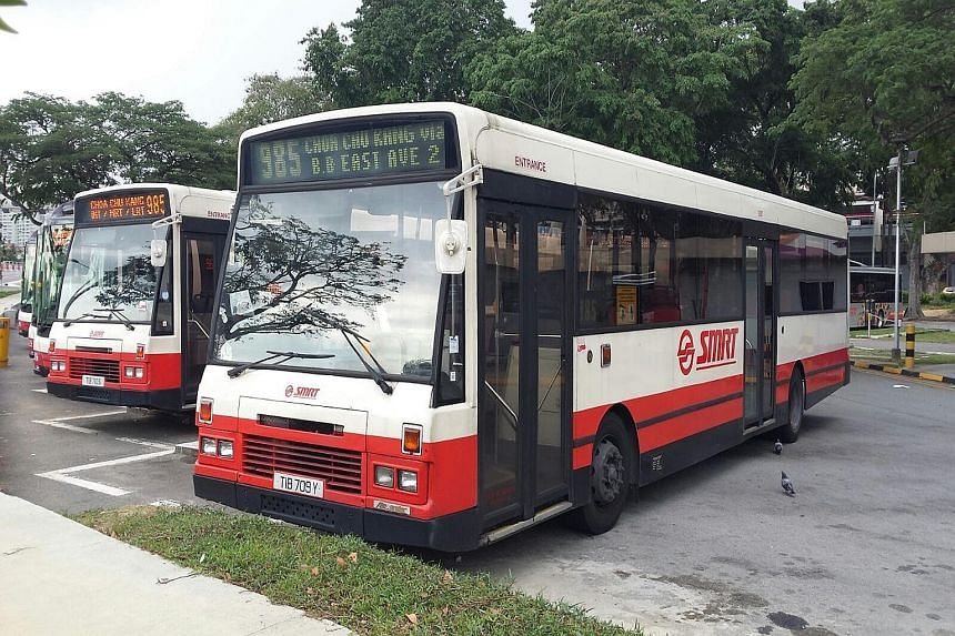 """A DAF bus at the Geylang Bus Terminal, which started as a """"Park and Ride"""" bus terminal, where motorists parked their cars and then rode the City Shuttle Service buses to the CBD."""