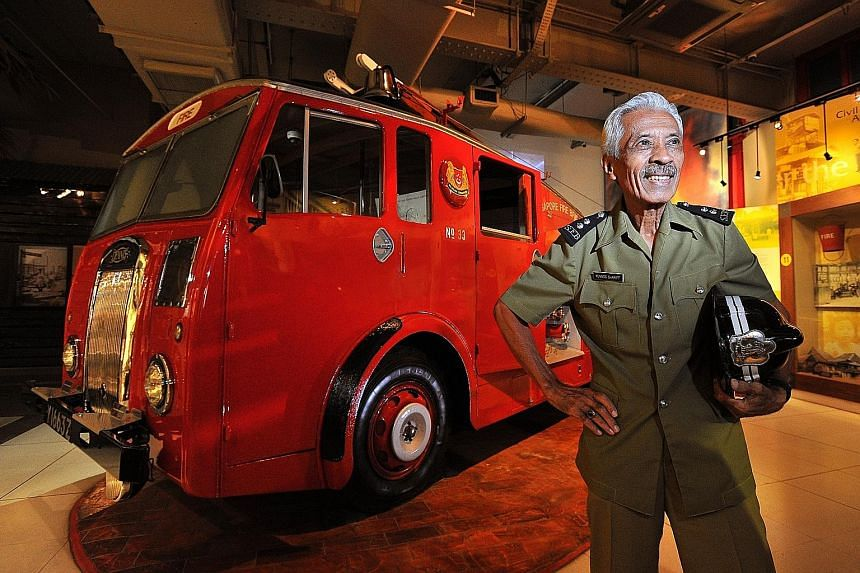Retired fireman Yunnos Shariff in his Section Leader uniform from the 1960s. He had served in the fire brigade for over 40 years before retiring. The Bukit Ho Swee fire in 1961 was the worst fire in Singapore's history. It ravaged the area, leaving 1
