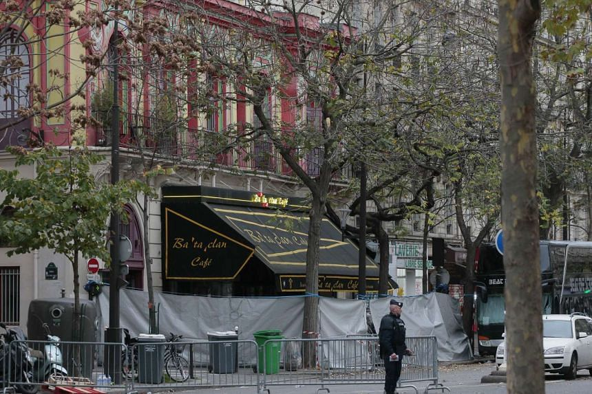 The secured and cordoned off crime scene of the Bataclan concert hall is pictured on Nov 14, 2015, following the deadly attacks in Paris a day before.