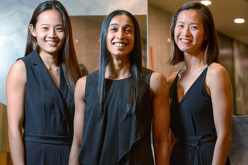 (From left) Micky Lin , Premila Hirubalan and Chen Huifen are three netballers will be inducted into the Singapore Netball Hall of Fame.