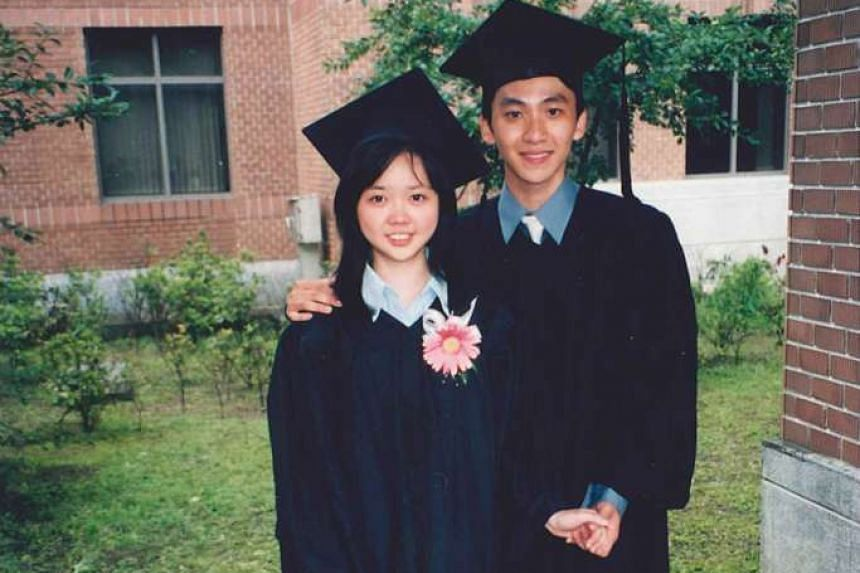 Mr Foo and his wife Lim Huey Tze on their graduation day at National Taiwan University in 2000. They got married in 2009.