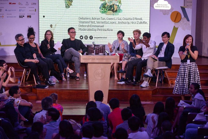 Speakers and audience at the closing debate of the Singapore Writers Festival.