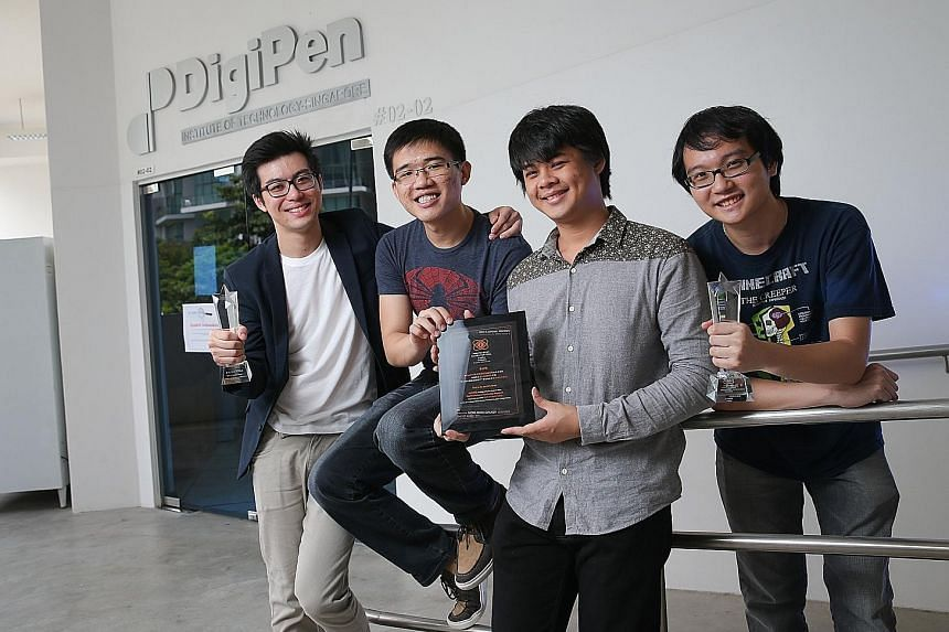 A game developed by DigiPen Institute of Technology Singapore students (from left) Justin Ng, Dexter Chng, Soo Zhong Min and Bryan Teo clinched the award for best student game at the Independent Games Festival last year. The team took six months to c