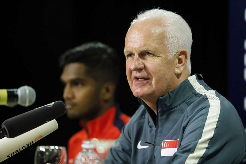 Singapore head coach Brend Stange (right) feels optimistic prior to match against Syria.