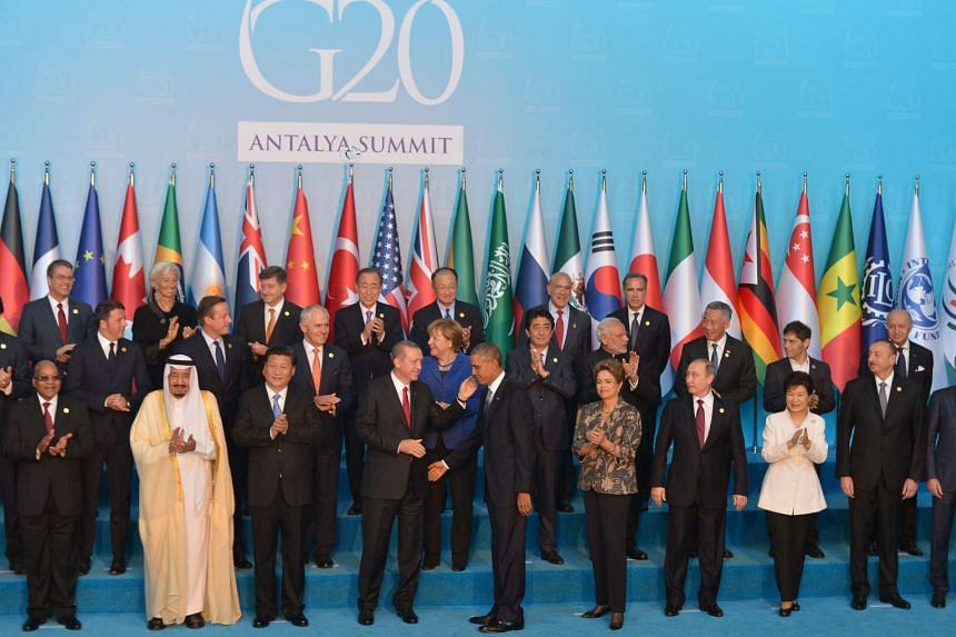 Leaders of the world's 20 biggest economies gathering at the G-20 Summit in Antalya, Turkey, on Nov 15, 2015.