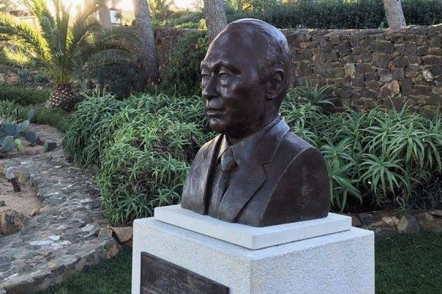 A bust of the late Mr Lee Kuan Yew in Catalonia's Cap Roig gardens.