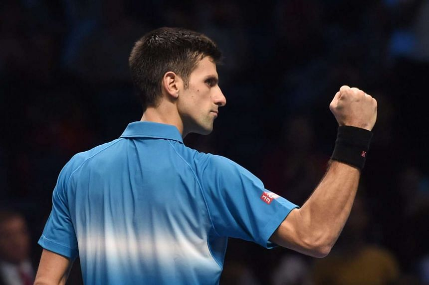 Novak Djokovic in action against Kei Nishikori during the ATP World Tour Finals in London on Sunday.